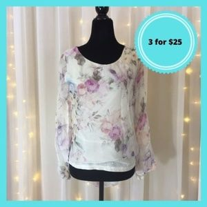 Silk made in Italy white floral blouse